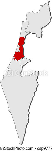 Map of Israel, Central District highlighted - csp9777254