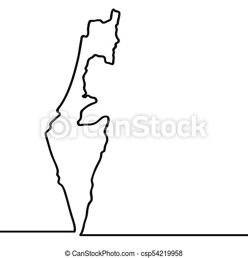 Map Of Israel. Continous Line   Csp54219958