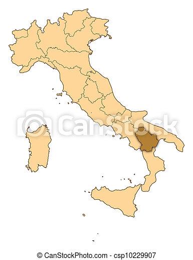Map Of Italy Basilicata Highlighted Map Of Italy Where Basilicata