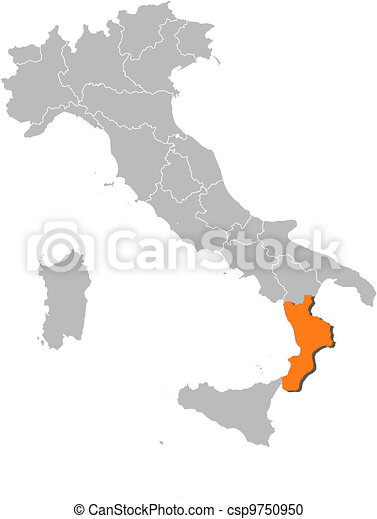 Map of italy, calabria highlighted. Political map of italy with the ...