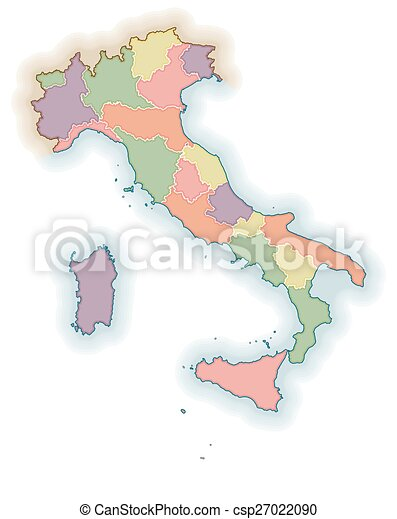 Map Of Italy Regions Political Map Of Italy One Layer For Eps - Map of italy regions