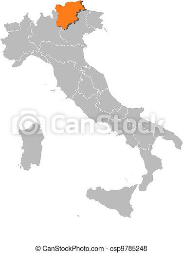 Map of Italy, Trentino-Alto Adige/Suedtirol highlighted - csp9785248