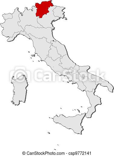 Map of italy trentinoalto adigesuedtirol highlighted vector