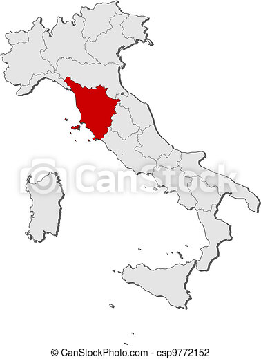 Map of italy, tuscany highlighted. Political map of italy with the ...