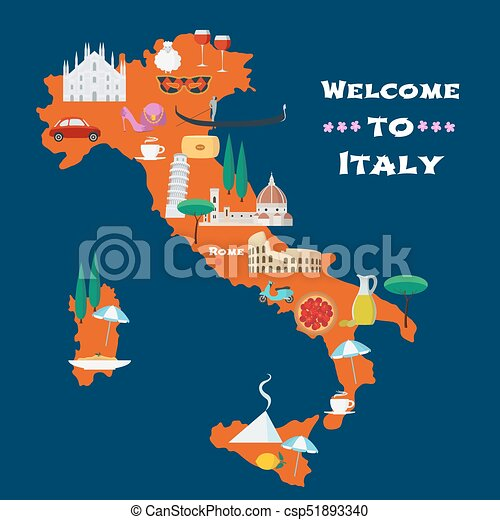 Map Of Italy Vector Illustration Design
