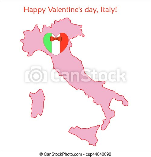 Map of Italy with flag and heart - csp44040092