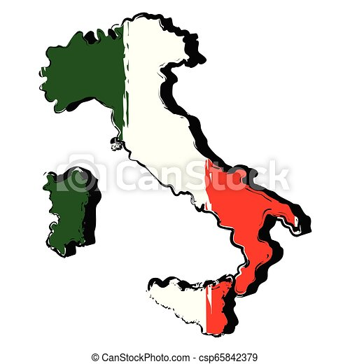 Map of Italy with flag - csp65842379
