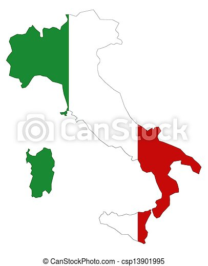 Map of Italy with flag - csp13901995