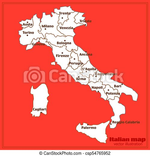Map Of Italy Torino.Map Of Italy With Red Background Italy Map With Italian Big Cities And Regions Vector Illustration