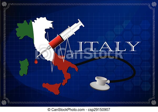 Map of Italy with Stethoscope and syringe. - csp29150907