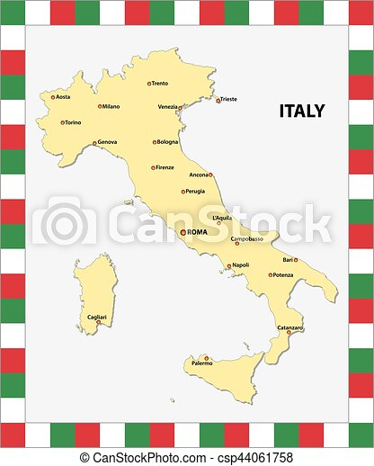 Map Of Italy With Main Cities.Map Of Italy With The Main Cities And A Map In The Colors Of The State Flag