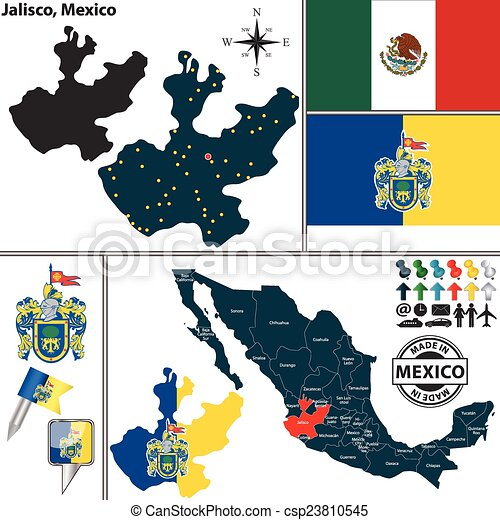 map of jalisco mexico csp23810545