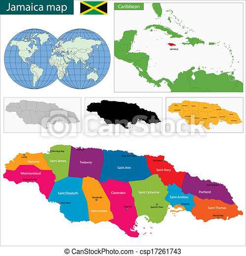 Map of jamaica with the parishes the capital cities.