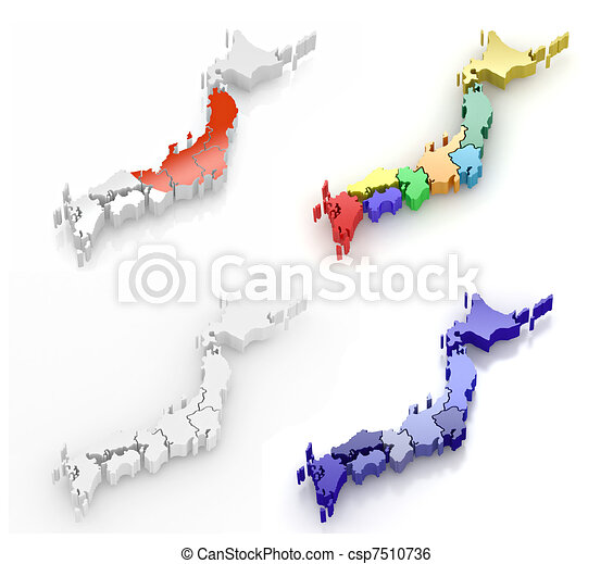 Stock Illustration Of Map Of Japan D Map Of Japan On White - Japan map 3d