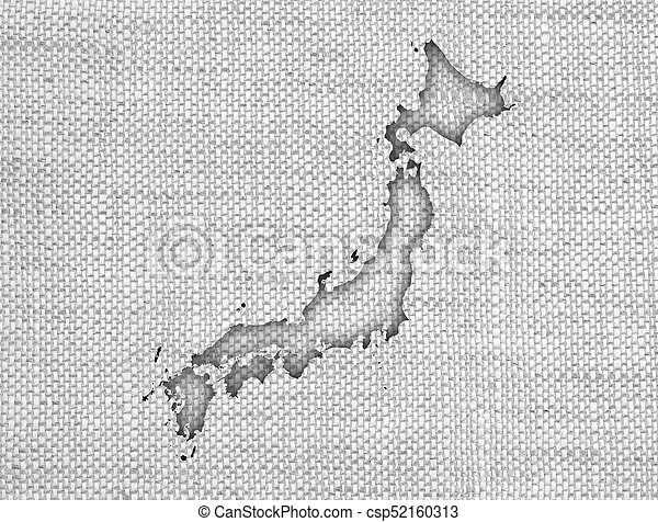 Map of Japan on old linen - csp52160313
