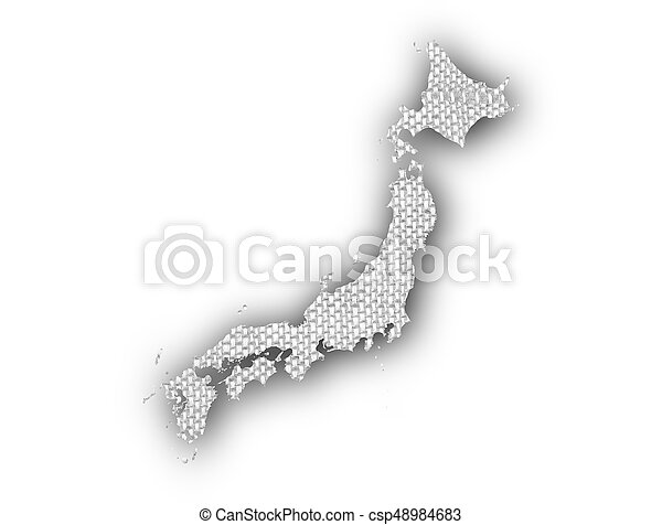 Map of Japan on old linen - csp48984683