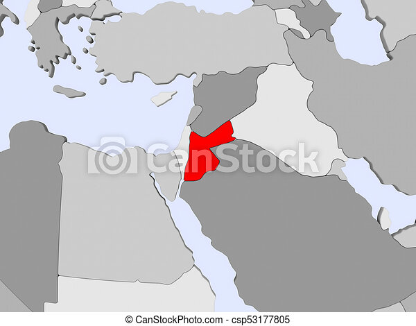 Political Map Of Jordan.Map Of Jordan Jordan In Red On Political Map With Transparent