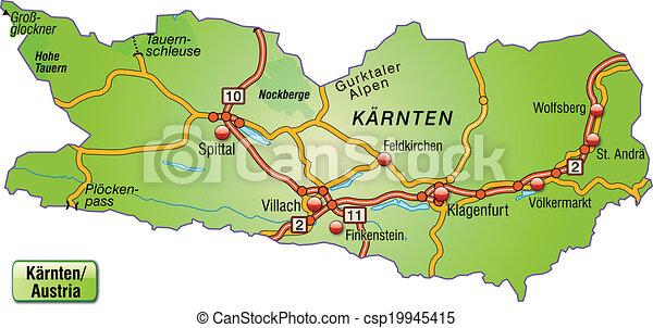 Map Of Kaernten With Highways
