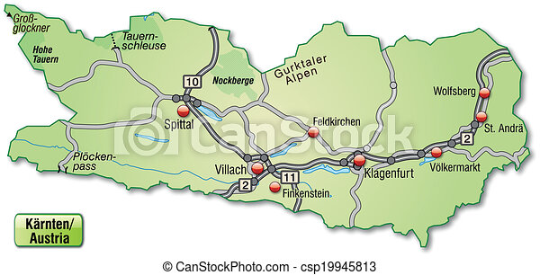 Map Of Kaernten With Highways In Pastel Green