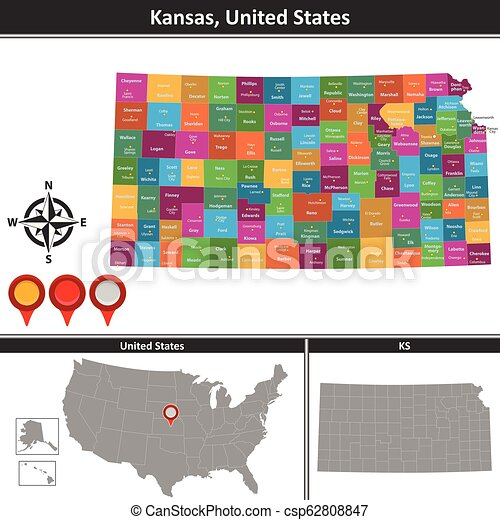 Map of kansas, us. Vector map of kansas with counties and location ...
