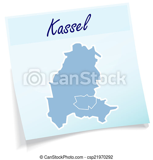 Map of kassel as sticky note in blue stock illustration Search