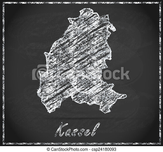 Map of kassel as chalkboard in black and white stock illustration