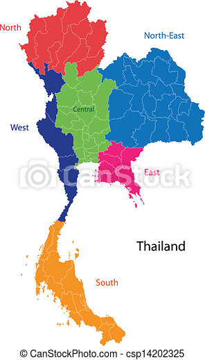 Map of kingdom of thailand with the provinces colored in vector
