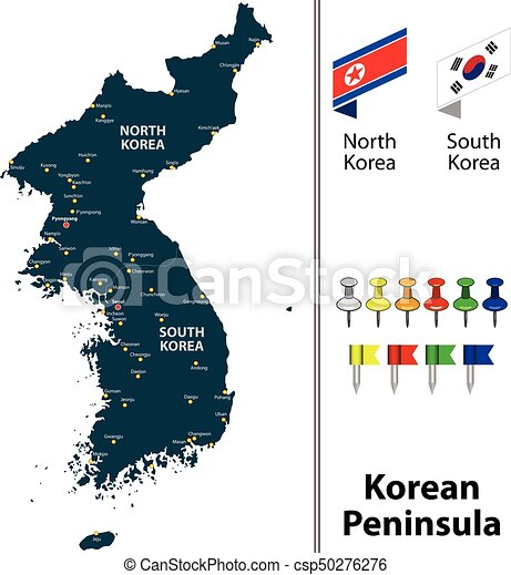 Vector map of korean peninsula with countries big cities vectors map of korean peninsula csp50276276 gumiabroncs Images