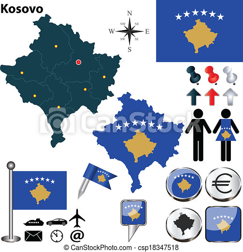 Map of kosovo vector map of kosovo with regions coat of arms and map of kosovo csp18347518 gumiabroncs Images