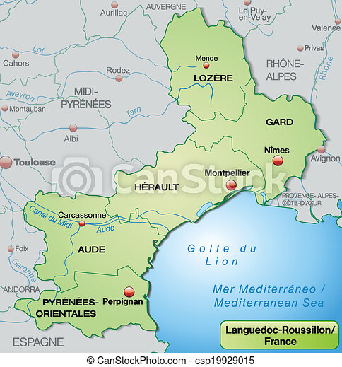 Roussillon France Map.Map Of Languedoc Roussillon With Borders In Pastel Green