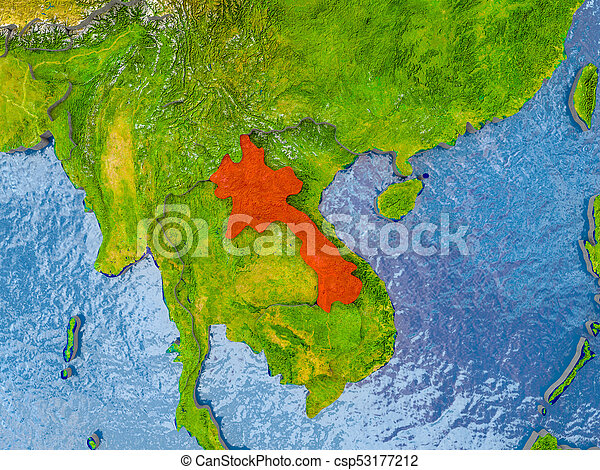 Map of laos. Laos in red on realistic map with embossed countries ...