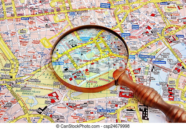 The Mall London Map.Map Of London And Magnifier Glass