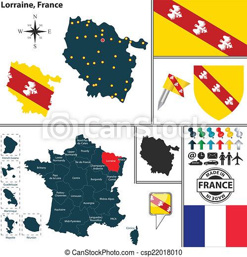 Map of lorraine france Vector map of state lorraine with vector