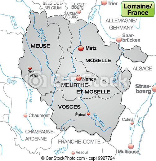 Map Of Lorraine With Borders In Gray