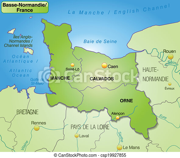 Map of lower normandy with borders in green map of lower normandy csp19927855 gumiabroncs Gallery