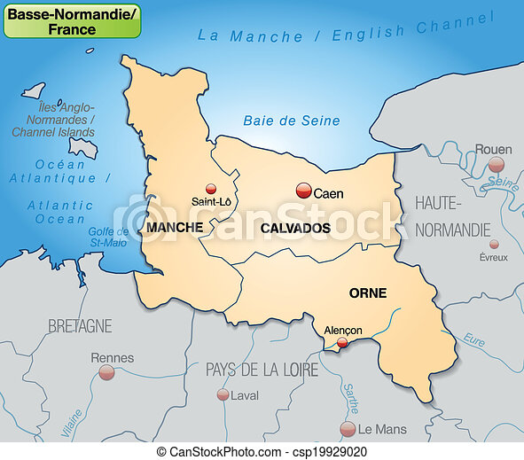 Map Of Lower Normandy With Borders In Pastel Orange