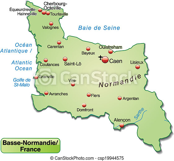 normandie karta Map of lower normandy as an overview map in pastel green. normandie karta
