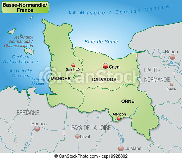 Map Of Lower Normandy With Borders In Pastel Green