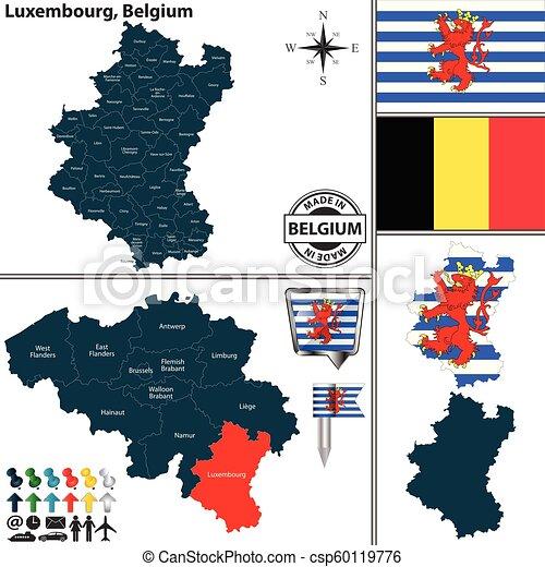 Map of Luxembourg, Belgium