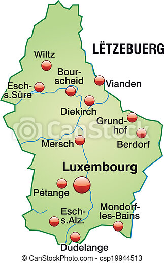 luxemburg karta Map of luxembourg as an overview map in pastel green. luxemburg karta