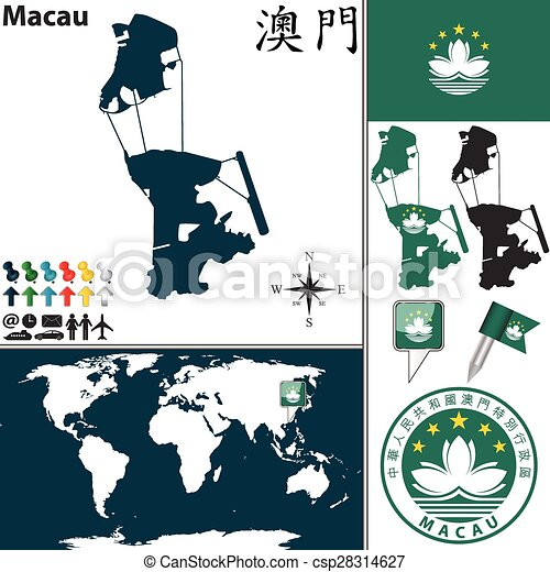 Macau On World Map.Map Of Macau Vector Map Of Macau With Coat Of Arms And Location On
