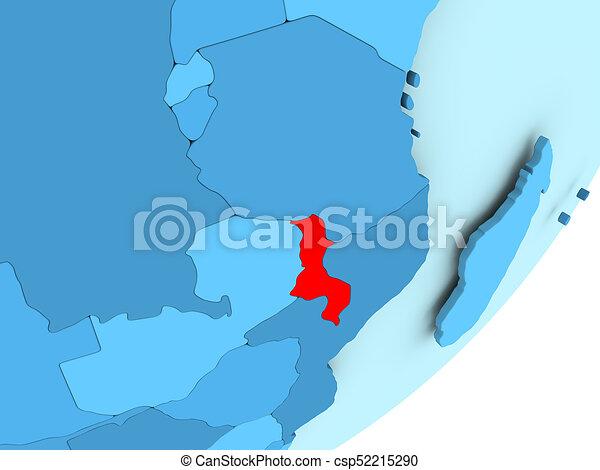 Map of Malawi on blue political globe - csp52215290