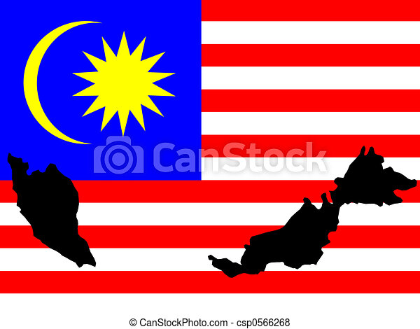 map of Malaysia and Malaysian flag - csp0566268