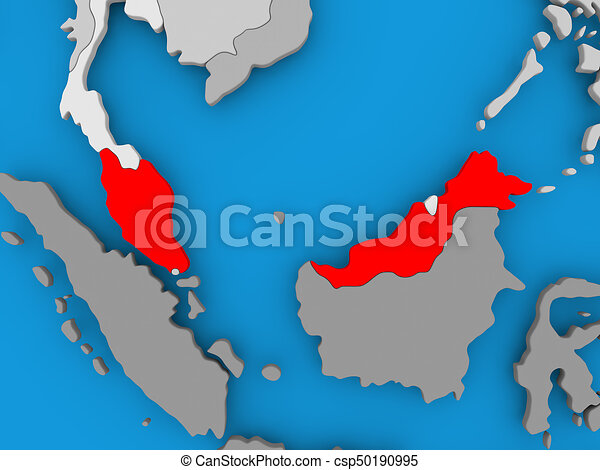 Map of malaysia Malaysia in red on political map 3d stock