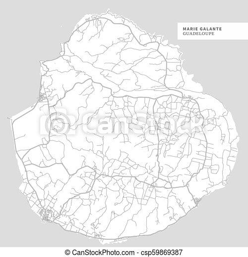 Map of Marie Galante Island - csp59869387