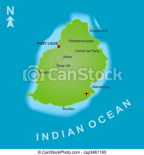 Map Of Mauritius A Stylized Map Of Mauritius Showing The Island And