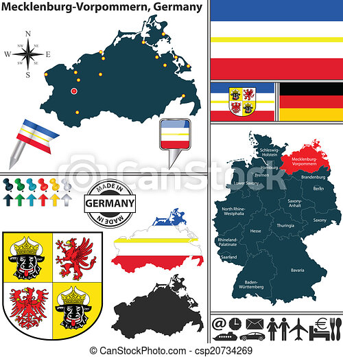 Map of mecklenburgvorpommern germany Vector map of state clip