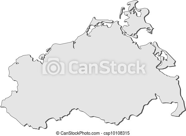 Map of mecklenburgvorpommern germany Map of the state vector