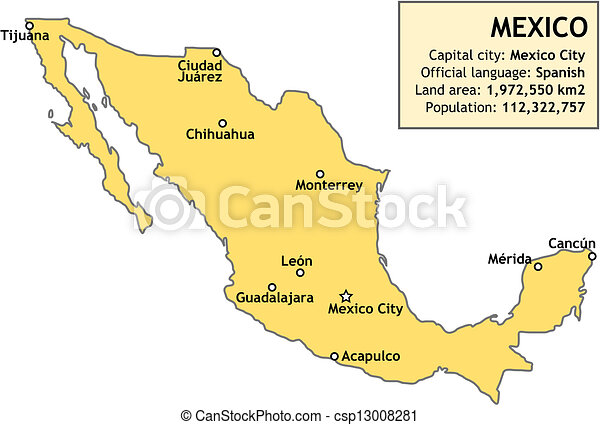 Map Of Mexico Outline Map Of Mexico With Major Cities And A - Major cities map of mexico