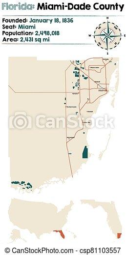 Map of Miami-Dade County in Florida - csp81103557